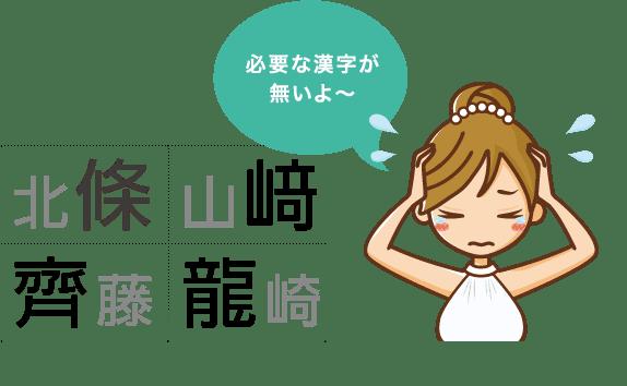 一般的なネット招待状販売は必要な特殊漢字が印刷できない場合があります